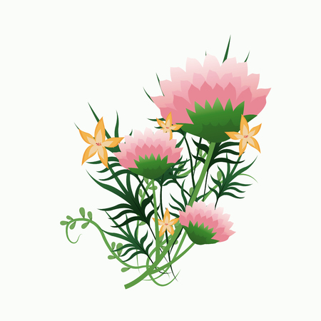 vegetation: bunch flower vegetation decorative vector illustration
