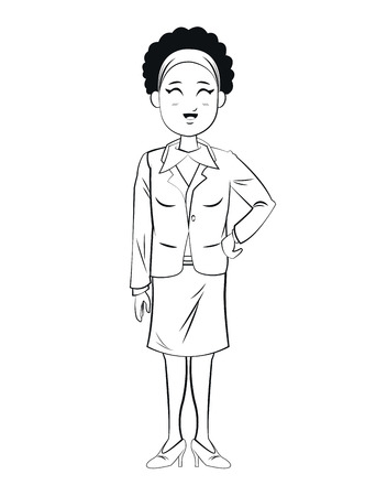 headband: woman business worker standign sketch vector illustration