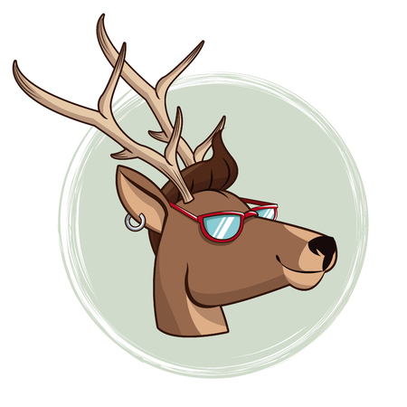 portrait deer hipster style sunglasses and piercing vector illustration eps 10