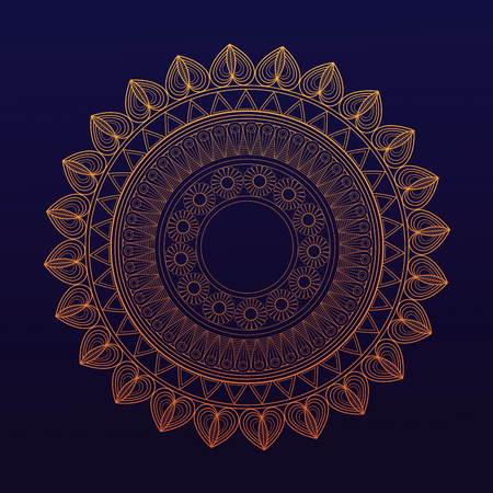 heart symbol: golden mandala symbol healing union vector illustration eps 10 Illustration