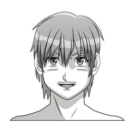 anime young: face boy anime manga comic smile young vector illustration eps 10 Illustration