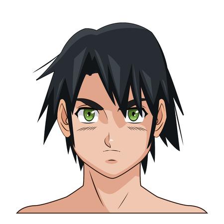 green eyes: portrait face manga anime male black hair green eyes vector illustration eps 10