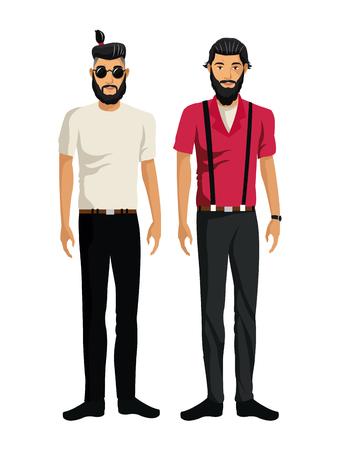 two men: two men bearded look design hipster vector illustration eps 10