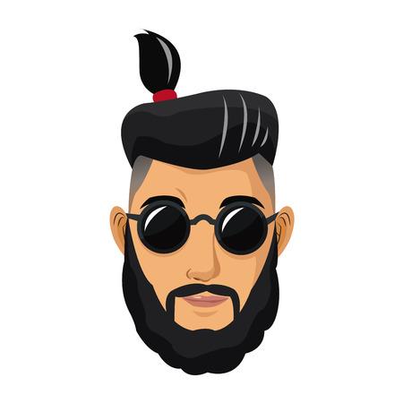 portrait man bearded tail hair sunglasses vector illustration eps 10