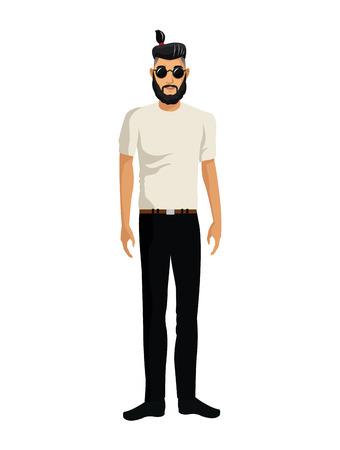 man casual fashion sunglasses tail hair bearded vector illustration eps 10