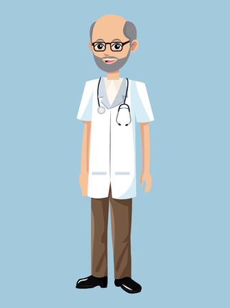 old doctor beard stethoscope glasses professional vector illustration Illustration