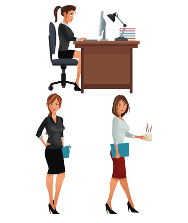coworkers: women office business coworkers employee vector illustration eps 10 Illustration