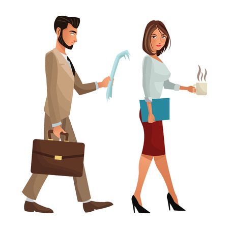 associates: man and woman walking office work documents folder suitcase vector illustration eps 10 Illustration