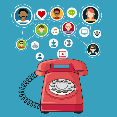 red telephone communication people social media items vector illustration eps 10