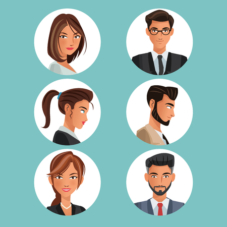 collection portraits men women workers office vector illustration eps 10