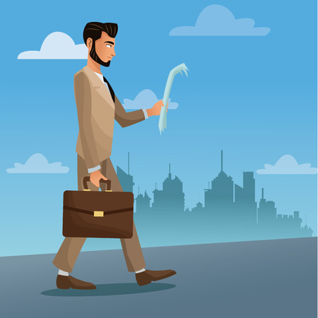man business walk stree city with paper and suitcase vector illustration