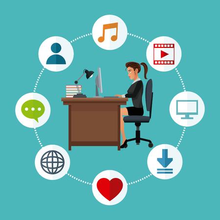 woman working desk laptop social media icons vector illustration eps 10