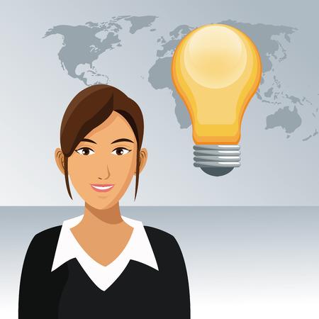 woman work office bulb creativity world background vector illustration eps 10
