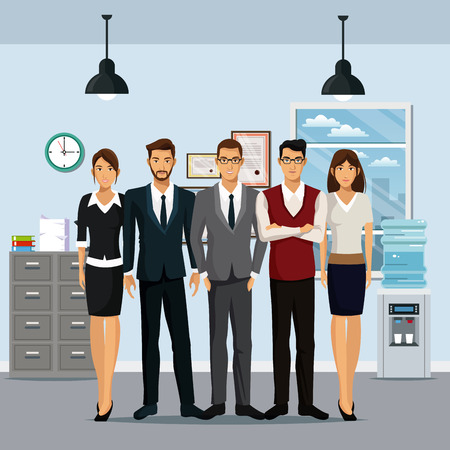 water cooler: group people workplace cabinet file cooler water clock lamp vector illustration eps 10