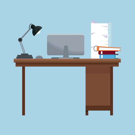 pile of documents: workplace desk lamp laptop books documents pile vector illustration eps 10