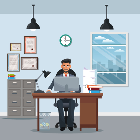 Mann sitzen Arbeitsplatz Schrank Datei Schreibtisch Laptop Fenster Uhr Vektor Illustration eps 10