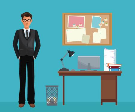 notice board: man glasses office work space desk notice board vector illustration eps 10