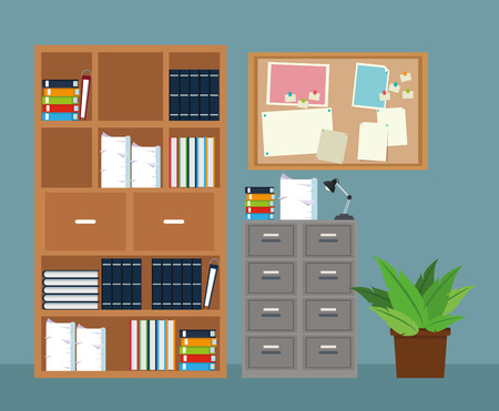 notice board: office furniture cabinet file potted plant notice board vector illustration eps 10