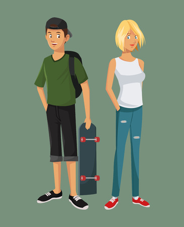and two friends: teens girl blonde boy casual outfits with skate bag cap vector illustration eps 10