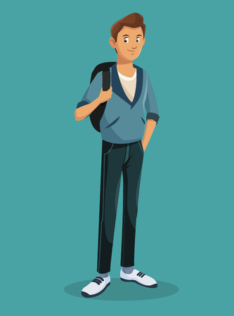 teen boy standing with jeans tennis rucksack vector illustration eps 10