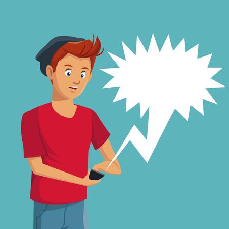 family discussion: boy teen user smartphone conversation bubble speech vector illustration