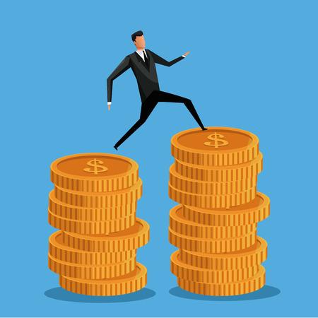 money pile: man business on coin money pile vector illustration eps 10