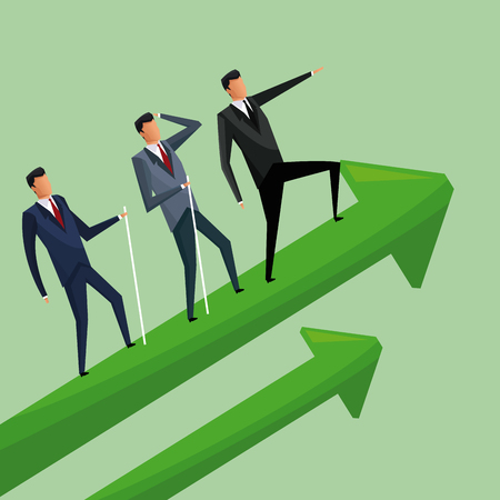 business men climbing growth arrows cooperation vector illustration
