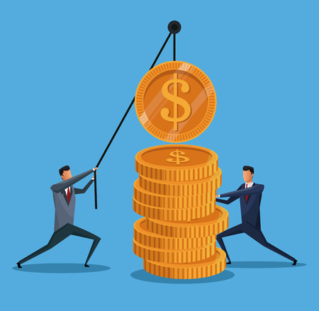 men collaboration finance coin lifting vector illustration eps 10 Illustration