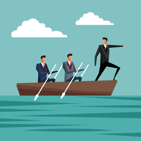 business people paddling team work manager growth vector illustration eps 10