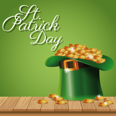 irish culture: poster st patrick day leprechaun hat coins on wooden green background vector illustration eps 10