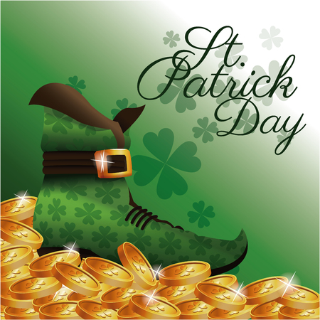 st patrick day card boot golden coins clover background