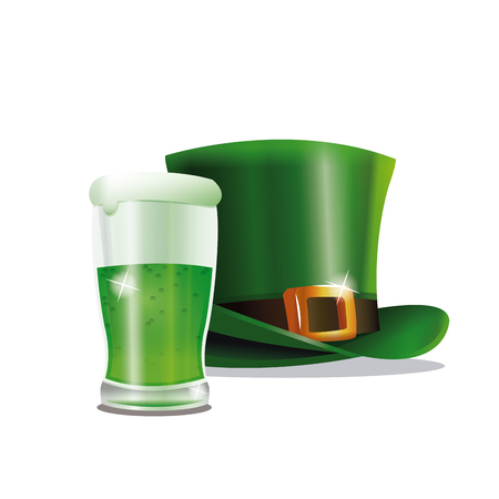 women s hat: st patrick day green hat glass beer party vector illustration eps 10 Illustration