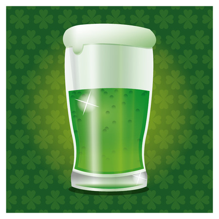 alehouse: st patrick day green cold glass beer vector illustration Illustration