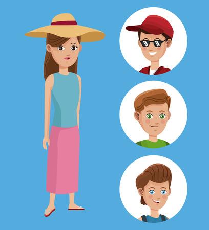 period costume: woman tourist hat shirt and group boy traveler vector illustration eps 10 Illustration