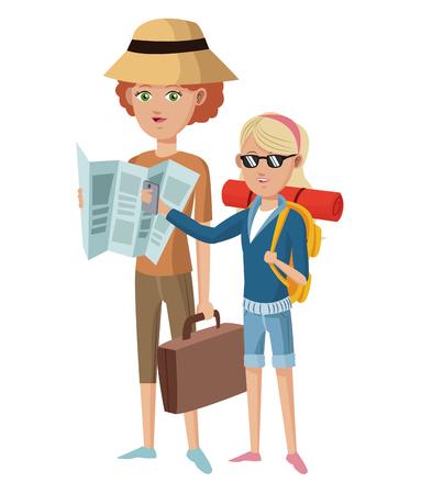 twee vrouw toeristische reiziger met koffer kaart hoed bril vector illustratie