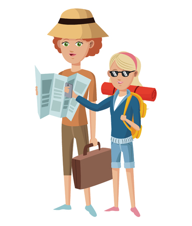 two woman tourist traveler with suitcase map hat glasses vector illustration