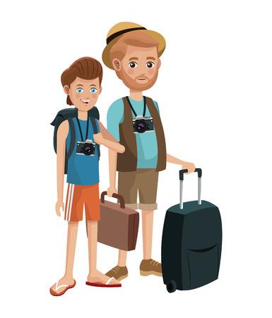 couple hiking: two men young senior tourist traveling vector illustration eps 10 Illustration