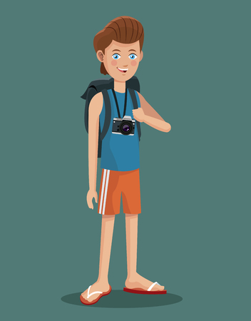 els: young boy tourist photo camera flip flop vector illustration eps 10