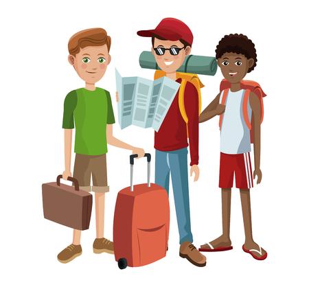 group boys traveling tourist vector illustration eps 10