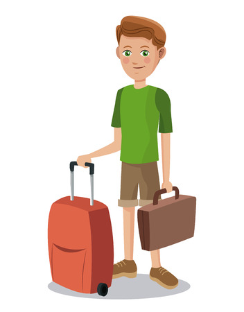 cute boy tourist eyes with suitcase baggage vector illustration Illustration