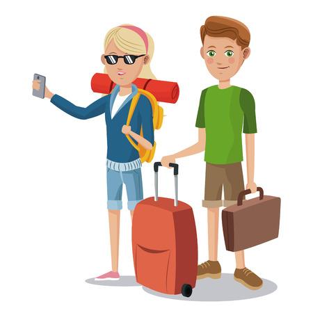 travel young couple tourist vacation suitcase vector illustration eps 10 Ilustração Vetorial