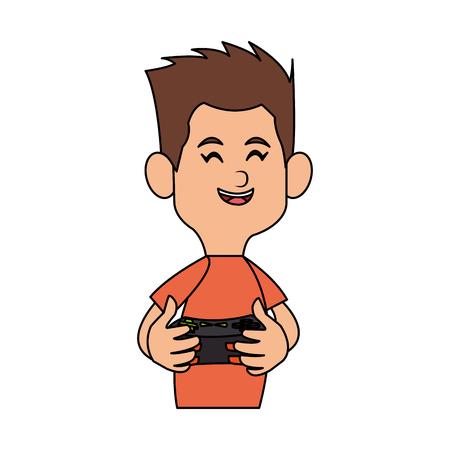 jugando videojuegos: muchacho de dibujos animados jugando videojuegos sobre fondo blanco. diseño colorido. Ilustración vectorial