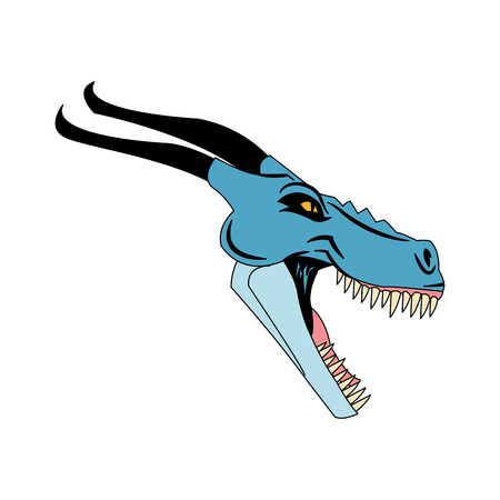 blue dragon: blue dragon cartoon icon over white background. colorful design. vector illustration Illustration