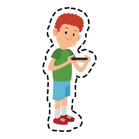 jugando videojuegos: pegatina de dibujos animados niño jugando videojuegos sobre el fondo blanco. diseño colorido. ilustración vectorial