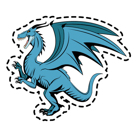blue dragon: sticker of blue dragon cartoon icon over white background. colorful design. vector illustration