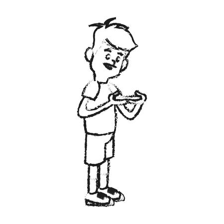 jugando videojuegos: niño de dibujos animados jugar a videojuegos sobre el fondo blanco. illustratin vectorial Vectores