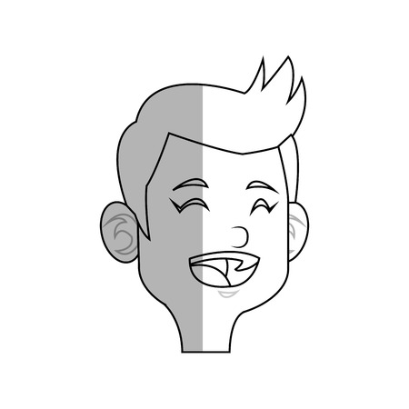 illustratin: happy boy cartoon icon over white background. vector illustratin Illustration