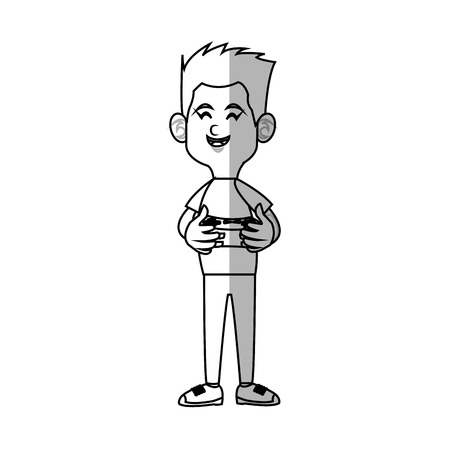 illustratin: boy cartoon playing videogames over white background. vector illustratin