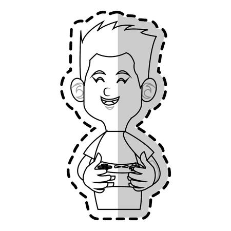 jugando videojuegos: muchacho de dibujos animados jugando videojuegos sobre fondo blanco. ilustración vectorial