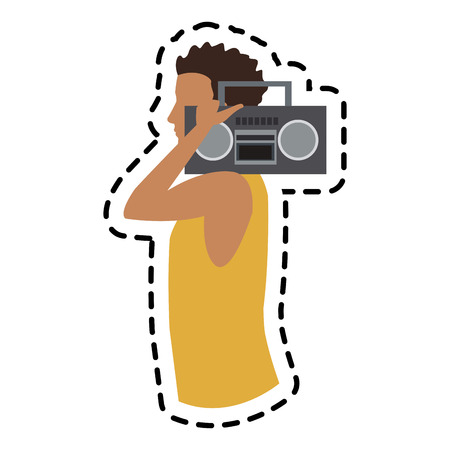 boombox: man with a boombox over white background. colorful design. vector illustration
